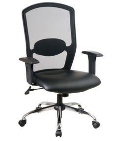 Executive Task Chair With Built-In Lumbar Support Black Leather Home Office Use