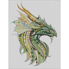 Illustration of Patterned head of the dragon on the grunge background. It may be used for design of a t-shirt, bag, postcard, a poster and so on. vector art, clipart and stock vectors. Totem Tattoo, Doodles Zentangles, Zentangle Patterns, Tattoo Indien, Bel Art, Tattoo Designs, Dragons, Diy Y Manualidades, Dragon Print