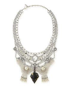 Emma Crystal Bib Necklace - Dannijo - Silver