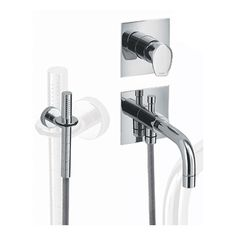 Features: -Bath shower mixer and hand help shower. -Wall mount. -Mixer projection: 1 5/8''. -Spout projection: 6 3/8''. Product Type: -Tub only faucet. Style: -Contemporary. Dimensions: -Plate