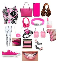 """Pink #1"" by sydneylc923 ❤ liked on Polyvore featuring Converse, Tory Burch, Beats by Dr. Dre, Elephant Heart and Kevyn Aucoin"