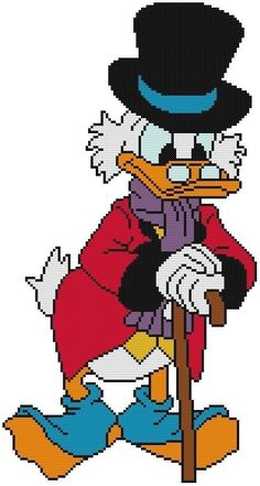 Cross Stitch Knit Crochet Plastic Canvas Waste Canvas Rug Hooking  Bead Work Pattern . This is Uncle Scrooge McDuck!  Donald's rich uncle and also in a Christmas Carol story.  So cute! https://www.pinterest.com/resparkled/