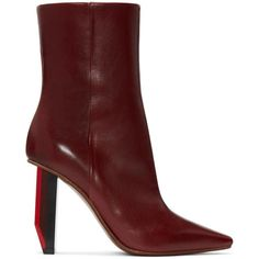 Vetements Burgundy Reflector-Heel Boots featuring polyvore, women's fashion, shoes, boots, ankle booties, burgundy, pointed-toe ankle boots, mid calf boots, short boots, pointy-toe ankle boots and ankle boots