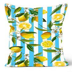 Floral Lemon Pillow Cover, Lemon Cushion Case, Decorative Fruit Cushion, Housewarming Citrus Home Decor, Farmhouse Style Lemon Pillow