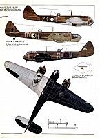 1937-1944 Bristol Blenheim. Light Bomber / Fighter. RAF, RCAF, FAF, RYAF. Engine: 2 x Bristol Mercury XV radial engine (920 hp) Armament: 1 x .303 Browning machine gun, 1 x 2 .303 browning guns under-nose or Nash & Thomson FN.54 turret, 2 x .303 Browning guns in dorsal turret. Max speed: 266 mph (428 km/h)