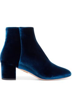 "Aquazzura's collections strike the ""perfect balance between modern design and impeccable craftsmanship."" These 'Baroque' ankle boots have been crafted in Italy from plush navy velvet - the defining fabric of the season - and are set on a sturdy block heel. We think they work just as well with denim as they do tailoring."