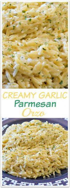 creamy-garlic-parmesan-orzo Orzo Recipes, Healthy Recipes, Parmesan Orzo, Chorizo, Risotto, Tasty, Diet, Ethnic Recipes, Food