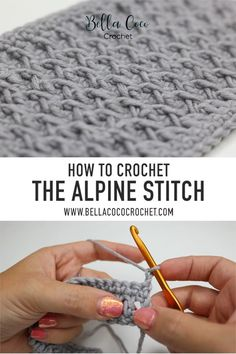 FREE Alpine Stitch video tutorial by Bella Coco Crochet,This video will teach you how to croc. FREE Alpine Stitch video tutorial by Bella Coco Crochet, Crochet Unique, Crochet Simple, Free Crochet, Knit Crochet, Crochet Cable Stitch, Linen Stitch, Slip Stitch, Beautiful Crochet, Crochet Stitches Patterns