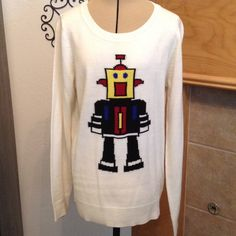 """LOVE BY DESIGN-SIZE MEDIUM NEW-100% ACRYLIC-THE COLOR IS MORE OF AN OFF WHITE-FROM ARMHOLE TO ARMHOLE IS ABOUT 17""""-LENGTH IS ABOUT 23"""" Love by design Sweaters Crew & Scoop Necks"""