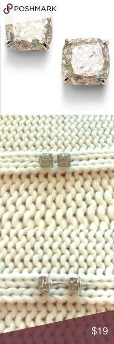 Kate Spade Mini Small Studs - Opal Glitter/Silver Mini small Kate Spade stud earrings in Opal Glitter/Silver. Wind once and like new! kate spade Jewelry Earrings