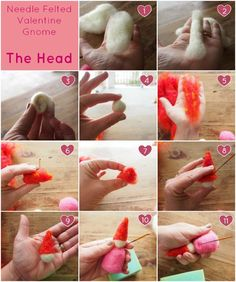 The Head : Needle Felted Valentine Gnome Tutorial : Wool Needle Felting, Needle Felting Tutorials, Gnome Tutorial, Doll Tutorial, Waldorf Crafts, Felt Fairy, Felt Dolls, Crafty Craft, Felt Crafts