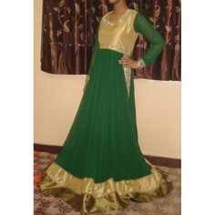 Golden Green Choli Frock