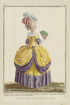 """Gallerie des Modes, 1780 """"Jeune Dame in Robe a la Polonaise"""" I love the striking combination of purple and yellow! Rococo Fashion, French Fashion, Victorian Fashion, Vintage Fashion, 18th Century Clothing, 18th Century Fashion, Historical Costume, Historical Clothing, Bts Mode"""