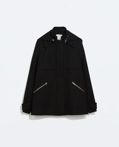 Coat with back pocket from Zara Japan Outfit, Black Wool Coat, Zara Women, Nike Jacket, Pocket, Womens Fashion, Shopping, Clothes, Collection