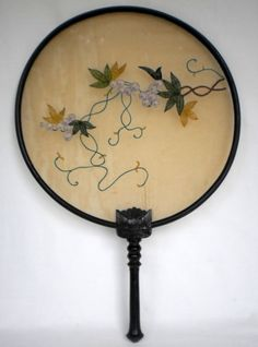 SCARCE VINTAGE ASIAN HANDCARVED & EMBROIDERED ROUND HAND HELD FAN