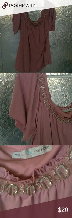 Maurice's Embellished Blouse Mauve scoop neck with big embellished stones, ties in back, banded bottom with flutter sleeves. Maurices Tops Blouses