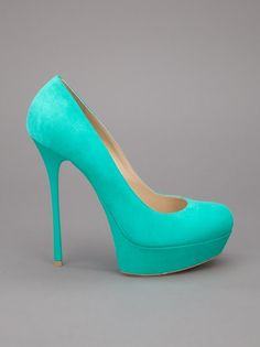 The cOLOR ON tHIS!!!! Gianmarco Lorenzi Mint Green suede Pump... stunningly perfect.