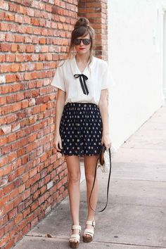 white Tea and Tulips blouse  Tea and Tulips top, Romwe Chic Skirt   polka dots + red lips.
