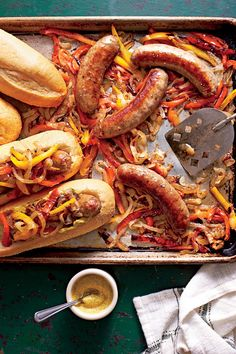 Bratwurst with Peppers and Onions   Making your entire meal in one pan means cooking—and cleanup—are a breeze. Throw all of your ingredients onto one pan and you'll have a meal that the whole family will enjoy. From chicken to bratwurst to salmon—your sheet pan can cook it all. The dishes are so easy to make that you will want to make one every night of the week.