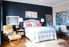 Paint colors that match this Apartment Therapy photo: SW 6257 Gibraltar, SW 6354 Armagnac, SW 7687 August Moon, SW 9179 Anchors Aweigh, SW 7662 Evening Shadow