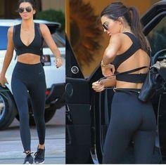 leggings black leggings fitness nike black fashion kendall jenner model off-duty