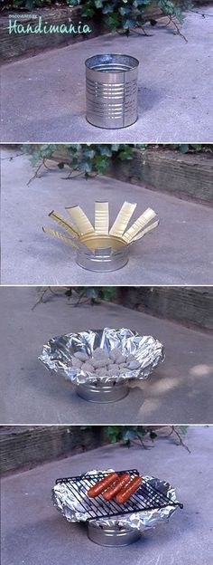 DIY: Tin Can Grill. Pretty cool considering we don't have a patio or a grill.