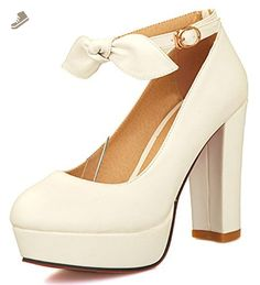Easemax Women's Sweet Ankle Strap Bow Buckle Round Toe Low Cut Pumps High Chunky Heel Platform Wedding Shoes White 5.5 B(M) US - Easemax pumps for women (*Amazon Partner-Link)