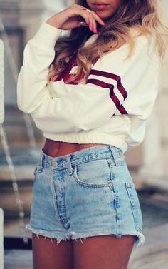 sporty chic denim shorts & sporty blouse