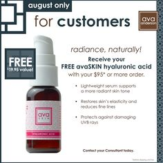 This is an awesome monthly special for August. I absolutely love this product and use it almost daily. It tightens and just makes me skin look great. Plus not to mention it is so much safer than most of the other products like it...no harmful chemicals! www.facebook.com/AvaAndersonByAmy. To place an order, please visit www.AvaAndersonNonToxic.com/AmyOParrish and please use party code 86235