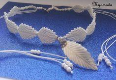 Micro Macrame necklace white leaf by Myamadasv on Etsy