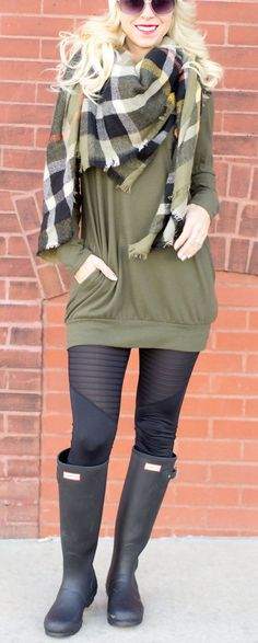 Olive Green Slouchy Tunic with Pockets with plaid scarf and black mesh active leggings casual winter look casual winter style winter outfit ideas www.shopcsgems.com