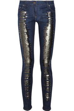 Roberto Cavalli|Sequin-embellished mid-rise skinny jeans|NET-A-PORTER.COM