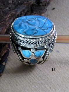 Afghan Turquoise Tribal Jewelry Ring with Symbolic Animal Carving