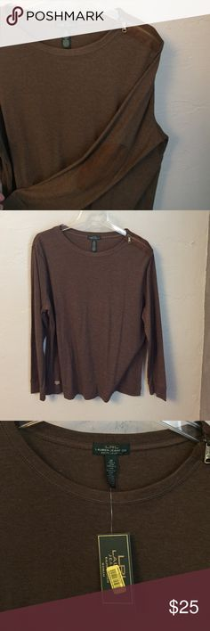Ralph Lauren long sleeve top NWT! Brown top with zipper on the shoulder and leather elbow patches. Very cute! Ralph Lauren Tops
