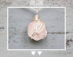 Rose Quartz Pendant  Silver Wire Wrap Necklace   GEM  by GIRLSTONE - £8.50