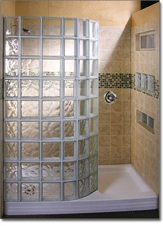 Glass Block Showers | Doorless Glass Block Shower. I don't care if the 70s are over. I will not give up on this.