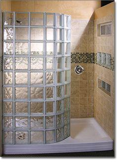 Glass Block Showers | Doorless Glass Block Shower. I don't care if the 70s are over. I will not give up on this.