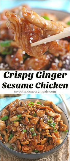 Crispy Sesame Chicken with a delicious ginger flavor can be made in less than 30 minutes! Quicker and tastier than take-out!