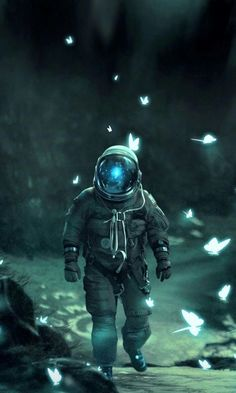 Space Artwork, Wallpaper Space, Galaxy Wallpaper, Space Odity, Blue Space, Green Wallpaper, Astronaut Drawing, Astronaut Wallpaper, Aesthetic Space