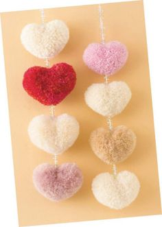 Heart Shaped Pom Poms made with the Clover Heart-Shaped Pom-Pom Maker