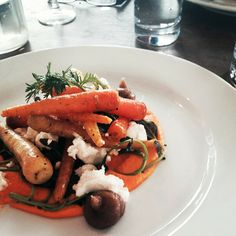 A wonderful starter - heritage #carrots with #goat's #cheese and #fig puree.