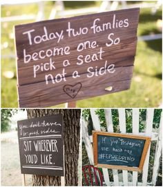Rustic decor sign for a wedding ceremony.  Today our families become one so pick a seat, not a side. #wedding #ceremony #decor #sign #seating view more  WeddingMuseum.com http://www.weddingmuseum.com/weddingblog/