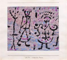 """Paul Klee  'Winterliche Masken' (Winter Masks)  1938  Gouache on paper laid on cardboard  8.1 x 9.3"""""""