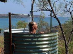 outdoor shower from metal culvert