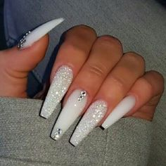 If you have problem with long nails, then try Acrylic Nails or artificial nails. Listed below are the Best Acrylic Nails Ideas for 2019 to take inspiration. White Coffin Nails, Bling Acrylic Nails, Acrylic Nails Coffin Short, Polygel Nails, Best Acrylic Nails, Swag Nails, White Acrylic Nails With Glitter, Bling Nails, Long White Nails