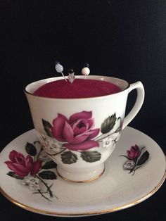 New Handmade Tea Cup Pin Cushion Dark Red Rose Royal Kent Bone China Vintage  #Unbranded