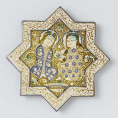 Stertegel beschilderd in goudluster met twee zittende figuren, Anonymous, 1266 - 1267