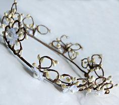 Flower Crown  White Wire vine crown