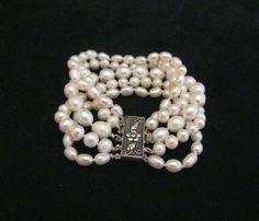 White Pearl Bracelet 5 Strand Pearl Bracelet by PowerOfOneDesigns, $129.99
