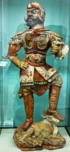 Estátua de guerreiro Mongol/Goturco (Arte Chinesa/Dinastia Tang)
